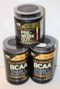 3X ASSORTED ON - OPTIMUM NUTRITION ITEMS TO INCLUDE GOLD STANDARD PRE-WORK OUT & GOLD STANDARD