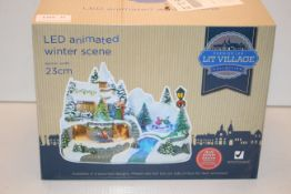 BOXED LIT VILLAGE LED ANIMATED WINTER SCENE APPROX 23CM Condition ReportAppraisal Available on