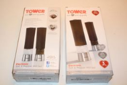 2X BOXED TOWER ELECTRONIC SALT & PEPPER MILL SETS RRP £29.99 EACHCondition ReportAppraisal Available