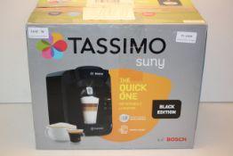 BOXED BOSCH TASSIMO SUNY BLACK EDITION POD COFFEE MACHINE RRP £54.99Condition ReportAppraisal