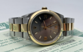 ROLEX OYSTER PERPETUAL, 34MM, 18CT YELLOW GOLD AND STAINLESS STEEL, SLATE GREY DIAL, MODEL-