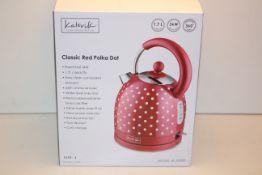 BOXED KALORIK KITCHEN ORIGINALS CLASSIC RED POLKA DOT RAPID BOIL KETTLE 1.7L MODEL: JK39083 RRP £
