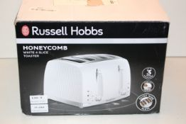BOXED RUSSELL HOBBS HONEYCOMB WHITE 4 SLICE TOASTER RRP £20.00Condition ReportAppraisal Available on