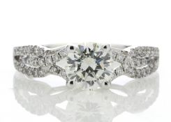 18ct White Gold Single Stone Claw Set With Stone Set Shoulders Diamond Ring (1.03) 1.32 Carats -