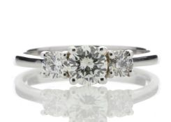 18ct White Gold Three Stone Claw Set Diamond Ring 0.77 Carats - Valued by GIE £14,595.00 - 18ct