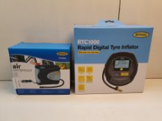 X 2 BOXED ITEM TO INCLUDE RING AIR COMPRESSOR & RING RTC1000 DIGITLTYRE INFLATOR RRP £55 Condition