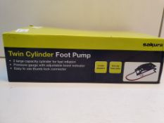 BOXED SAKURA TWIN CYCLINDER FOOT PUMP RRP £10 Condition ReportAppraisal Available on Request- All
