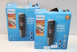 2X BOXED PHILIPS MULTIGROOM 5000 DUAL CUT TECHNOLOGY TRIMMERS COMBINED RRP £55.10Condition