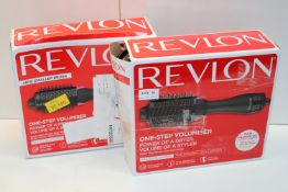 2X BOXED REVLON ONE-STEP POWER OF A DRYER PRECISION OF A STYLER SALON HAIR DRYER AND STYLER RRP £