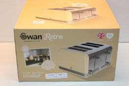 BOXED SWAN RETRO CREAM FOUR SLICE TOASTER RRP £39.99Condition ReportAppraisal Available on