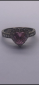 """Silver 925 ring set with cz and pink heart shaped stone Engraved """"I love you"""" insideNo reserve"""