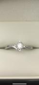 9 carat white gold solitaire diamond twist ring 0.15 carat Diamond weightSize M