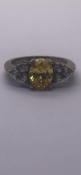 Silver ring set with cz stones and citrine No Reserve