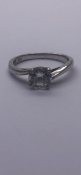 Silver solitaire cz ring No Reserve