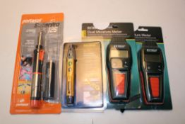 4X BOXED ITEMS TO INCLUDE EXTECH DUAL MOISTURE METERS, NC3 NON-CONTACT MAGNETIC FIELD & VOLTAGE