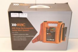 BOXED RAC 400 AMP RECHARGEABLE JUMP START SYSTEM RRP £35.99Condition ReportAppraisal Available on