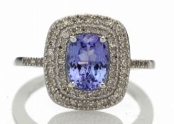 9ct Gold Oval Tanzanite And Diamond Cluster Ring 0.33 Carats - Valued by GIE £3,620.00 - 9ct Gold