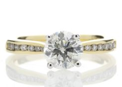 18ct Yellow Gold Single Stone Diamond Ring With Stone Set Shoulders (1.11) 1.28 Carats - Valued by