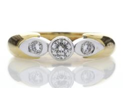 18ct Single Stone Rub Over Stone Set Shoulder Diamond Ring D SI 0.41 Carats - Valued by GIE £10,