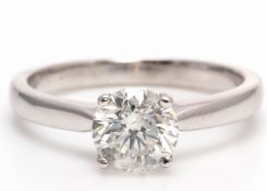 18ct White Gold Single Stone Diamond Ring 1.05 Carats - Valued by AGI £20,590.12 - A gorgeous