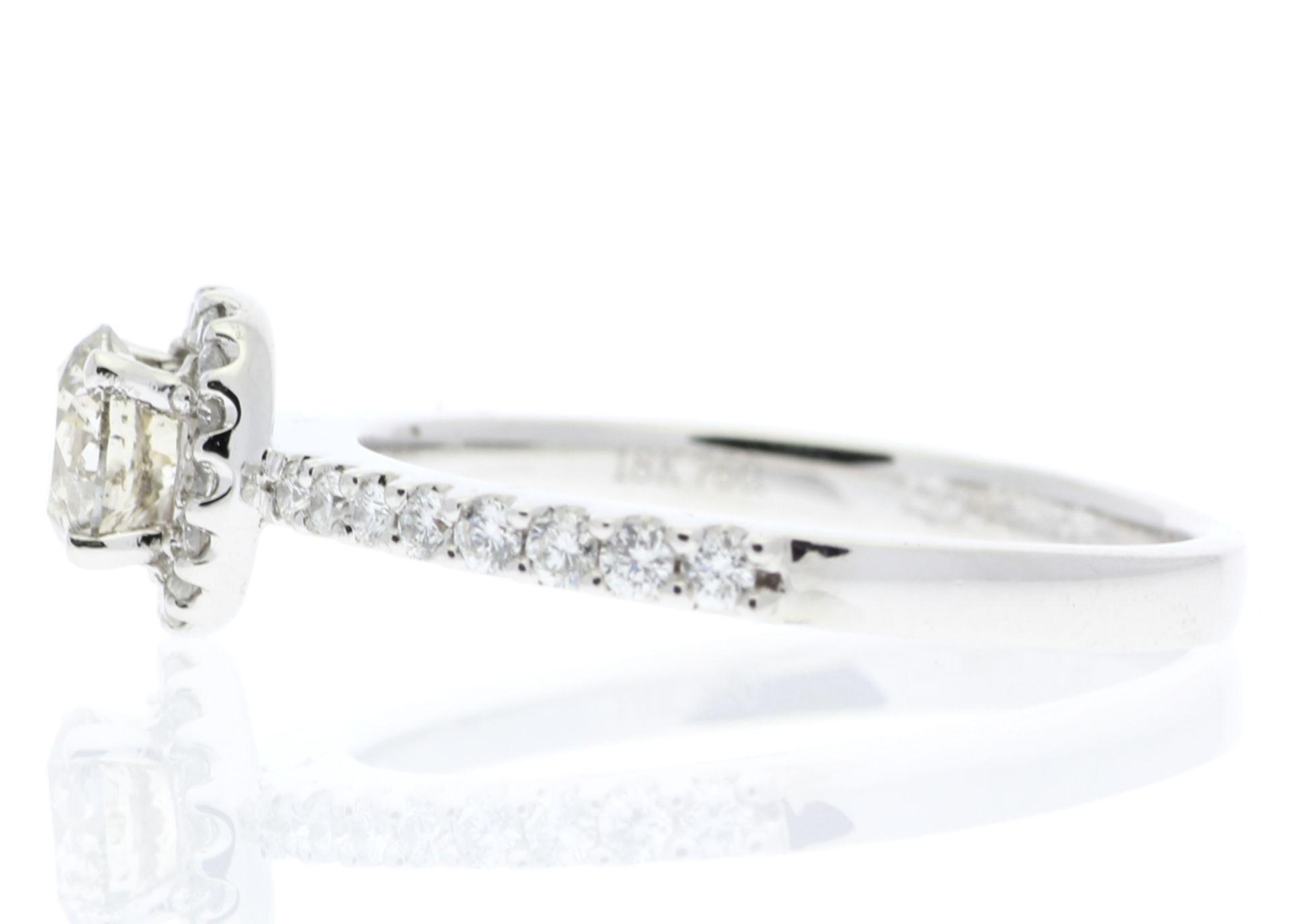 18ct White Gold Single Stone Halo Set With Stone Set Shoulders Diamond Ring (0.25) 0.52 Carats - - Image 3 of 4