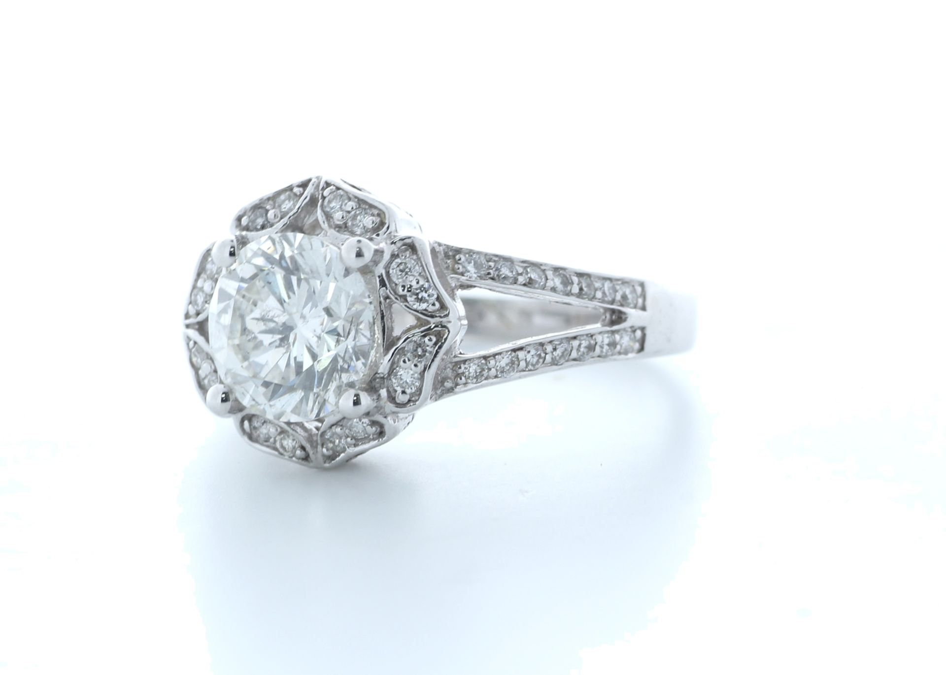 18ct White Gold Single Stone With Halo Setting Ring 2.06 (1.66) Carats - Valued by IDI £36,000. - Image 2 of 5