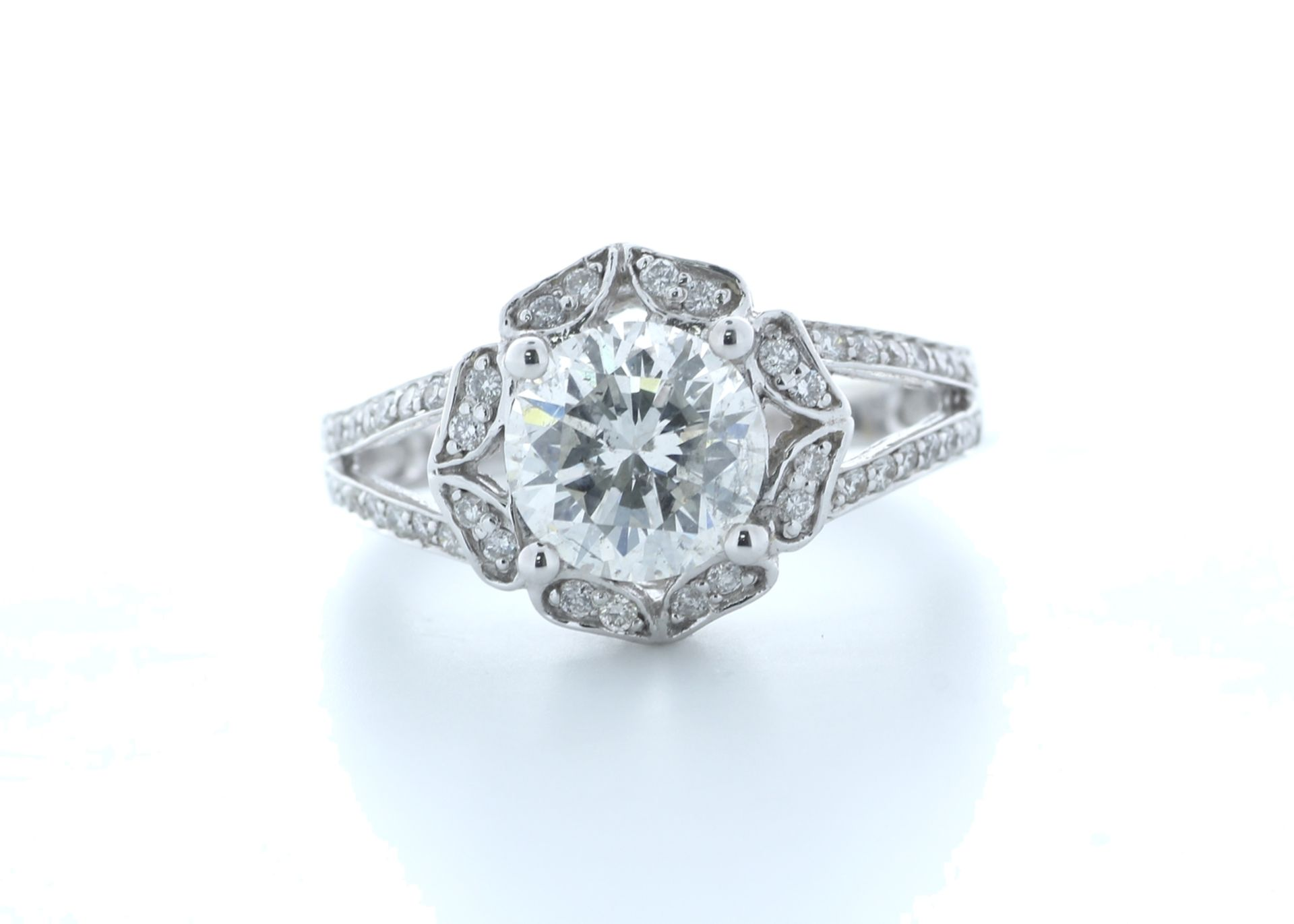18ct White Gold Single Stone With Halo Setting Ring 2.06 (1.66) Carats - Valued by IDI £36,000.