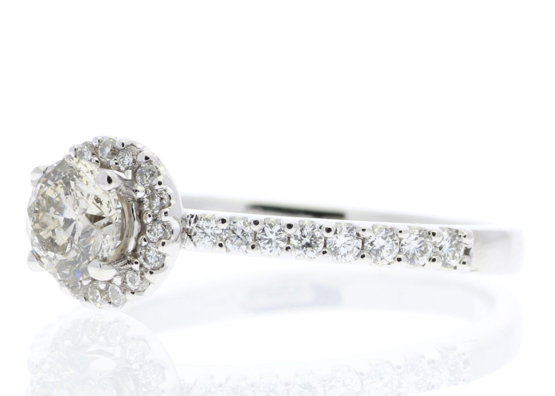 18ct White Gold Single Stone Halo Set With Stone Set Shoulders Diamond Ring (0.25) 0.52 Carats - - Image 2 of 4
