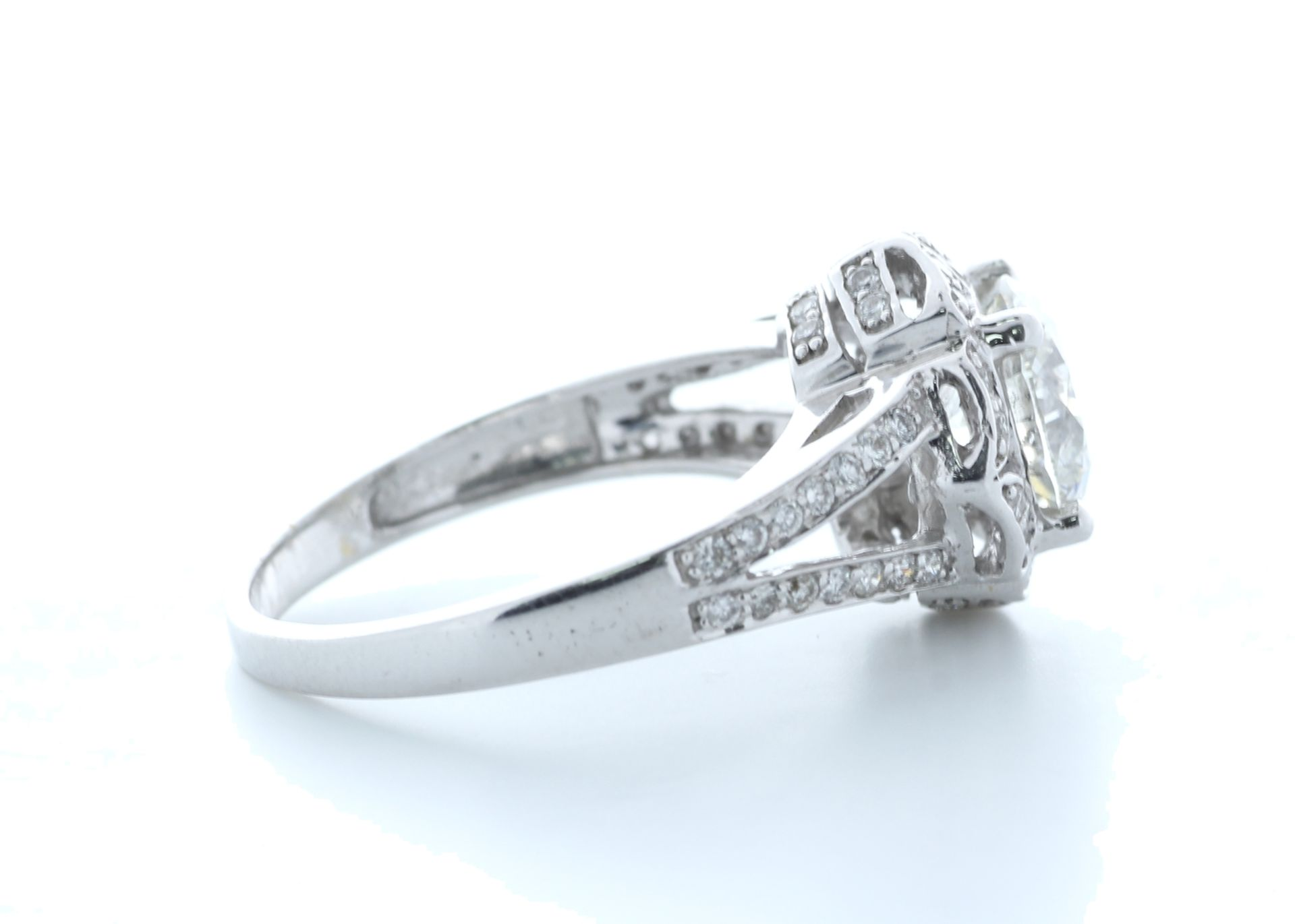 18ct White Gold Single Stone With Halo Setting Ring 2.06 (1.66) Carats - Valued by IDI £36,000. - Image 4 of 5