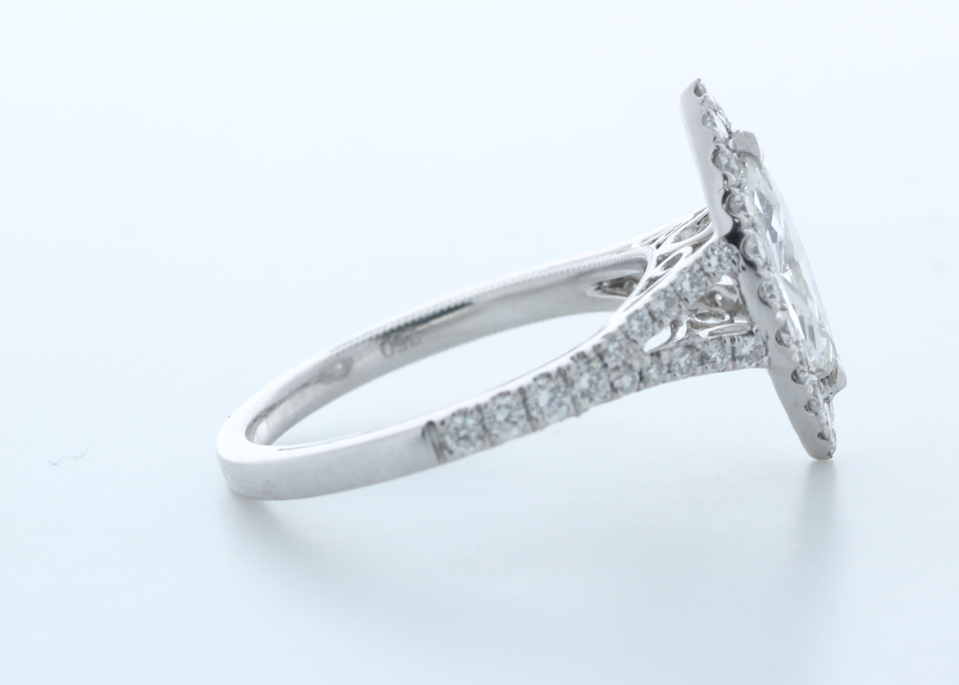 18ct White Gold Single Stone With Halo Setting Ring 1.56 (0.90) Carats - Valued by IDI £16,000. - Image 4 of 5