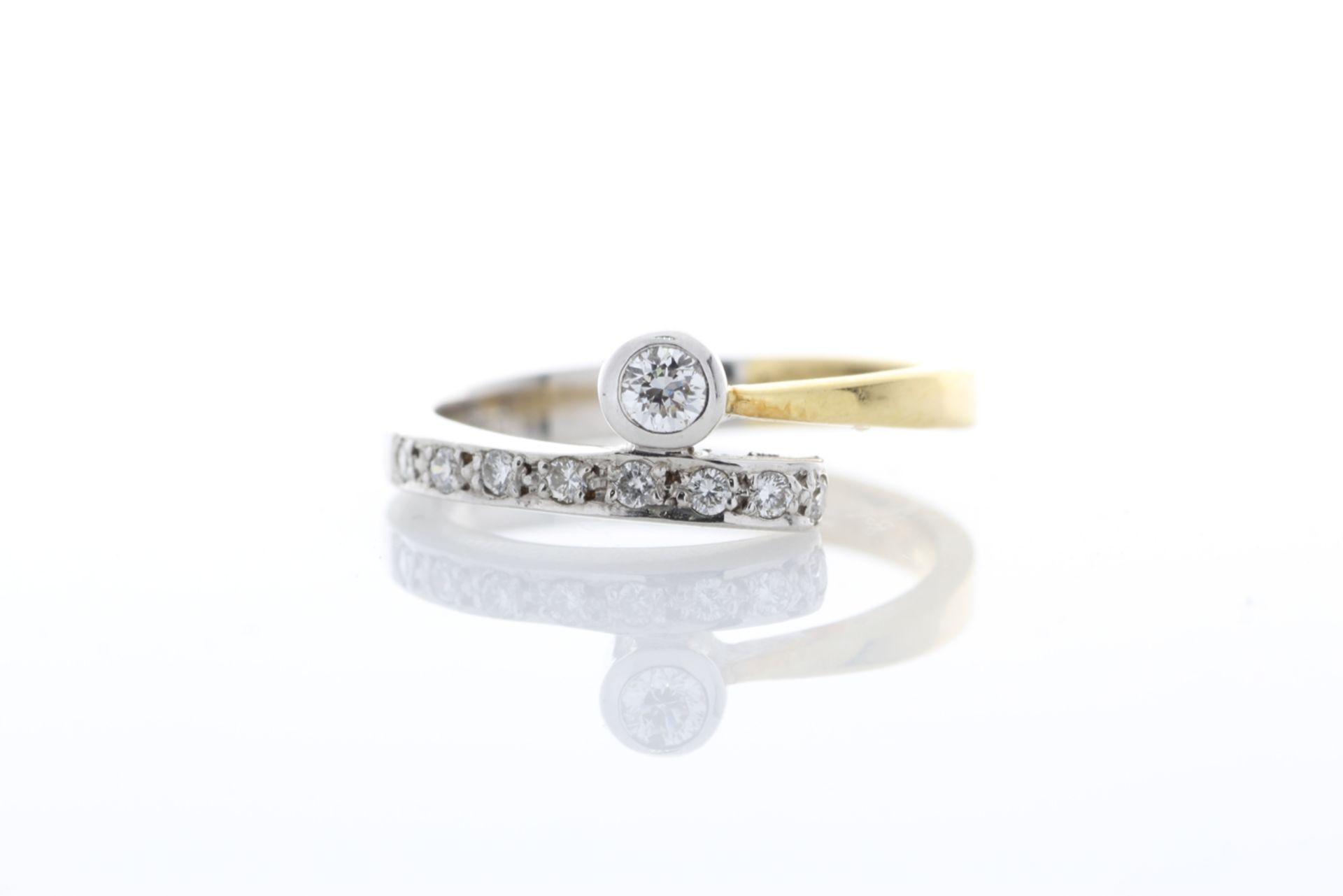 18ct Single Stone Rub Over With Stone Set Shoulders Diamond Ring 0.11 Carats - Valued by AGI £1, - Image 5 of 5