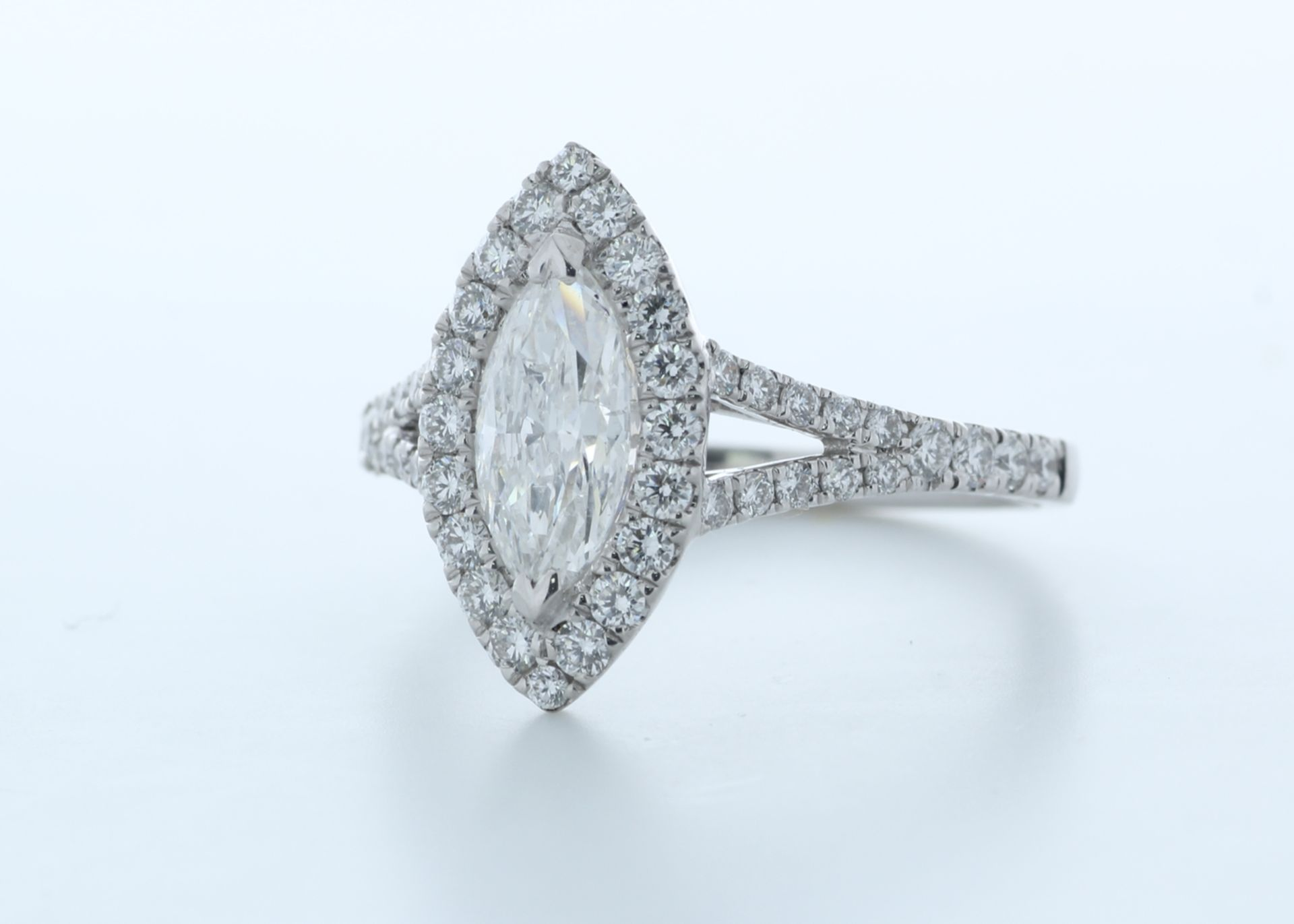 18ct White Gold Single Stone With Halo Setting Ring 1.56 (0.90) Carats - Valued by IDI £16,000. - Image 2 of 5