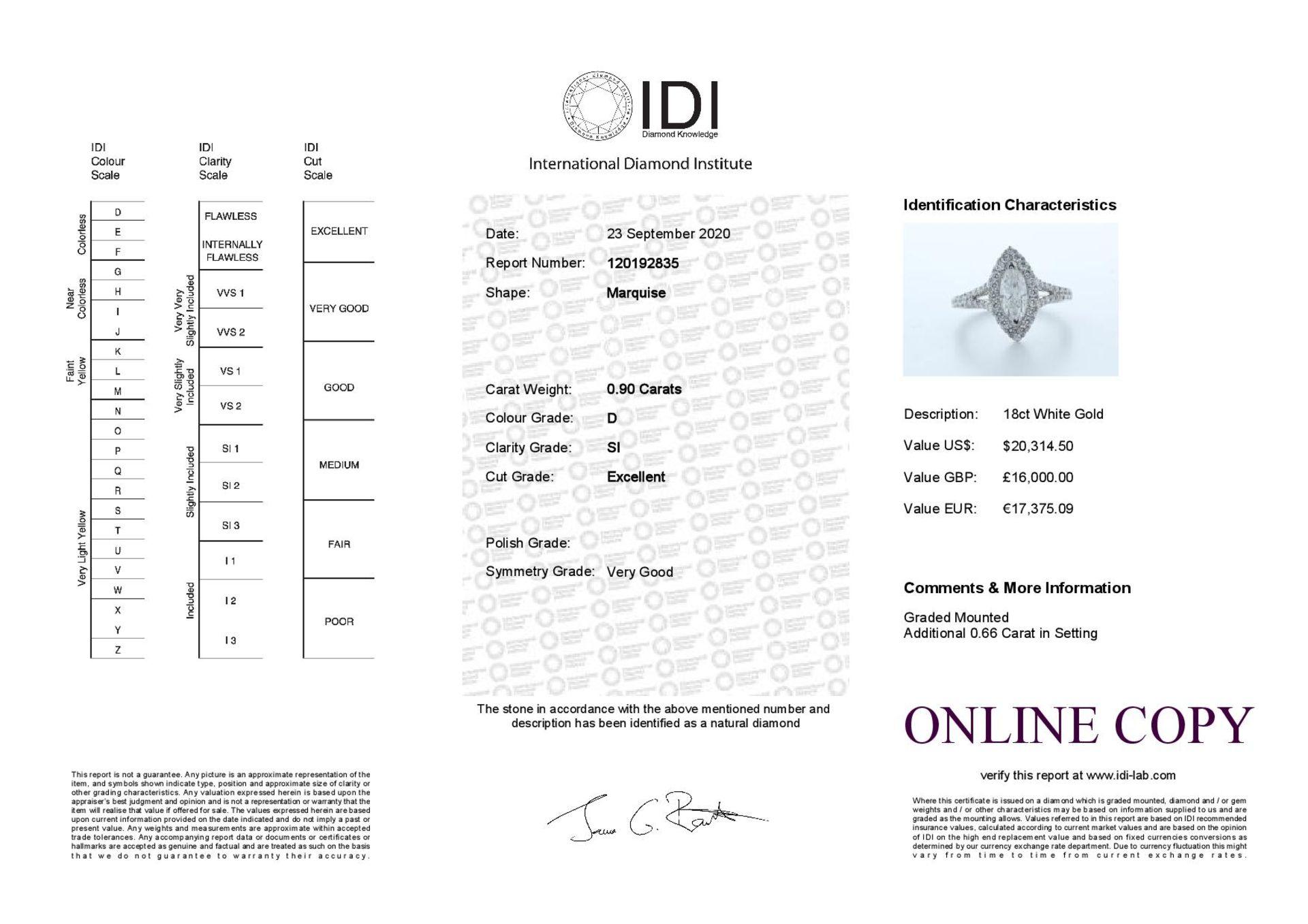 18ct White Gold Single Stone With Halo Setting Ring 1.56 (0.90) Carats - Valued by IDI £16,000. - Image 5 of 5