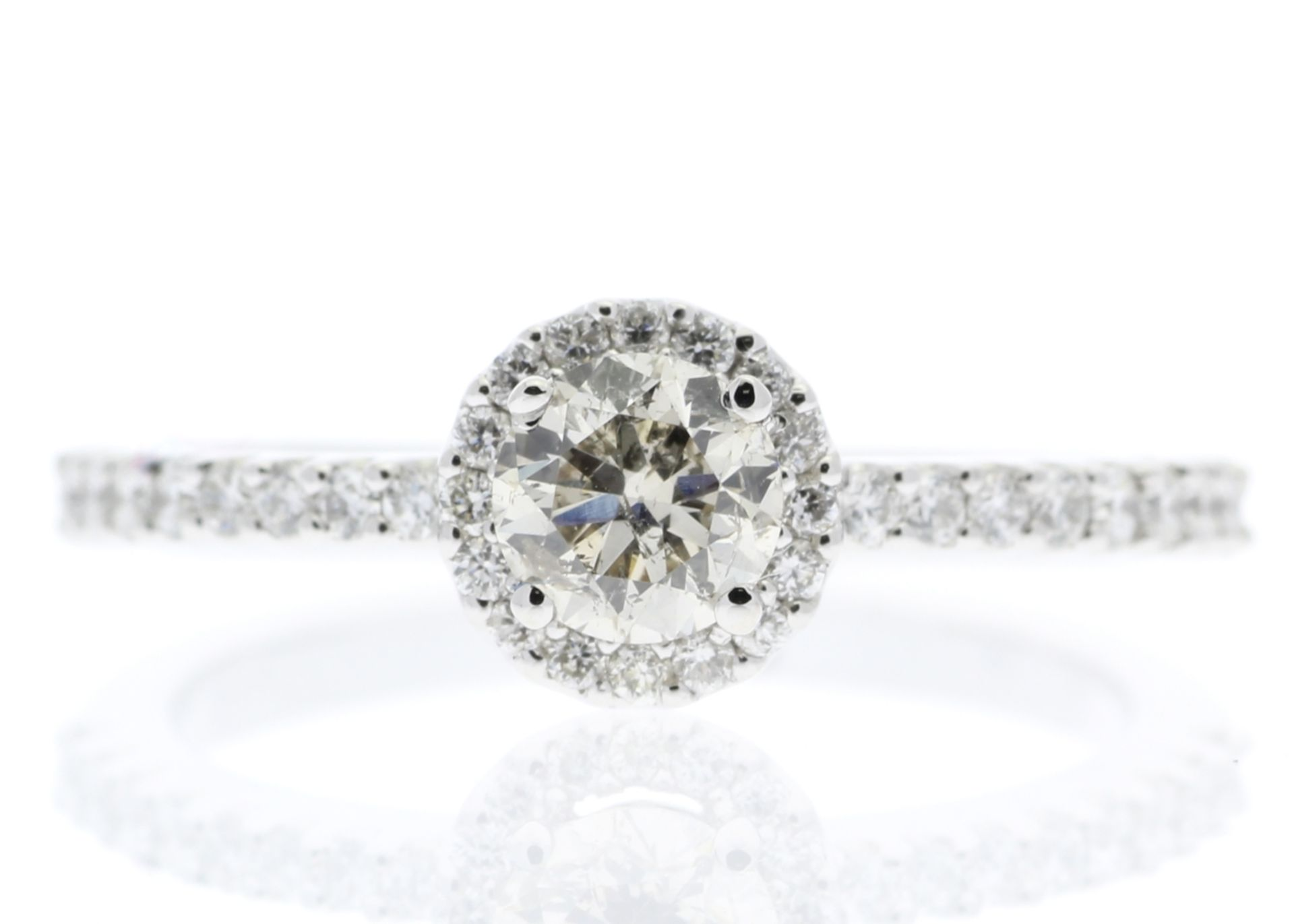 18ct White Gold Single Stone Halo Set With Stone Set Shoulders Diamond Ring (0.25) 0.52 Carats -