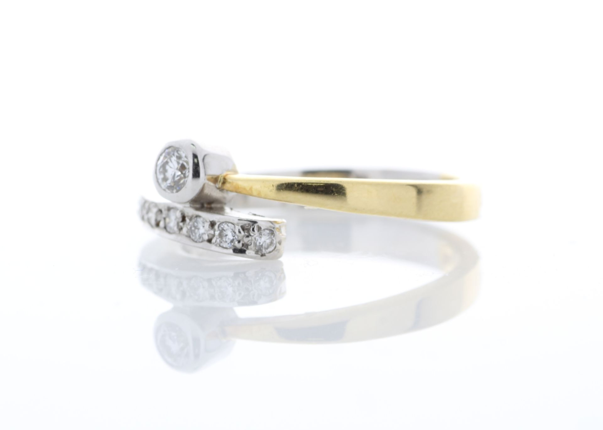 18ct Single Stone Rub Over With Stone Set Shoulders Diamond Ring 0.11 Carats - Valued by AGI £1, - Image 2 of 5
