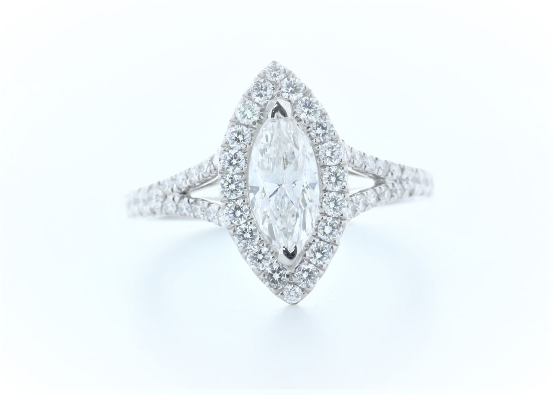 18ct White Gold Single Stone With Halo Setting Ring 1.56 (0.90) Carats - Valued by IDI £16,000.