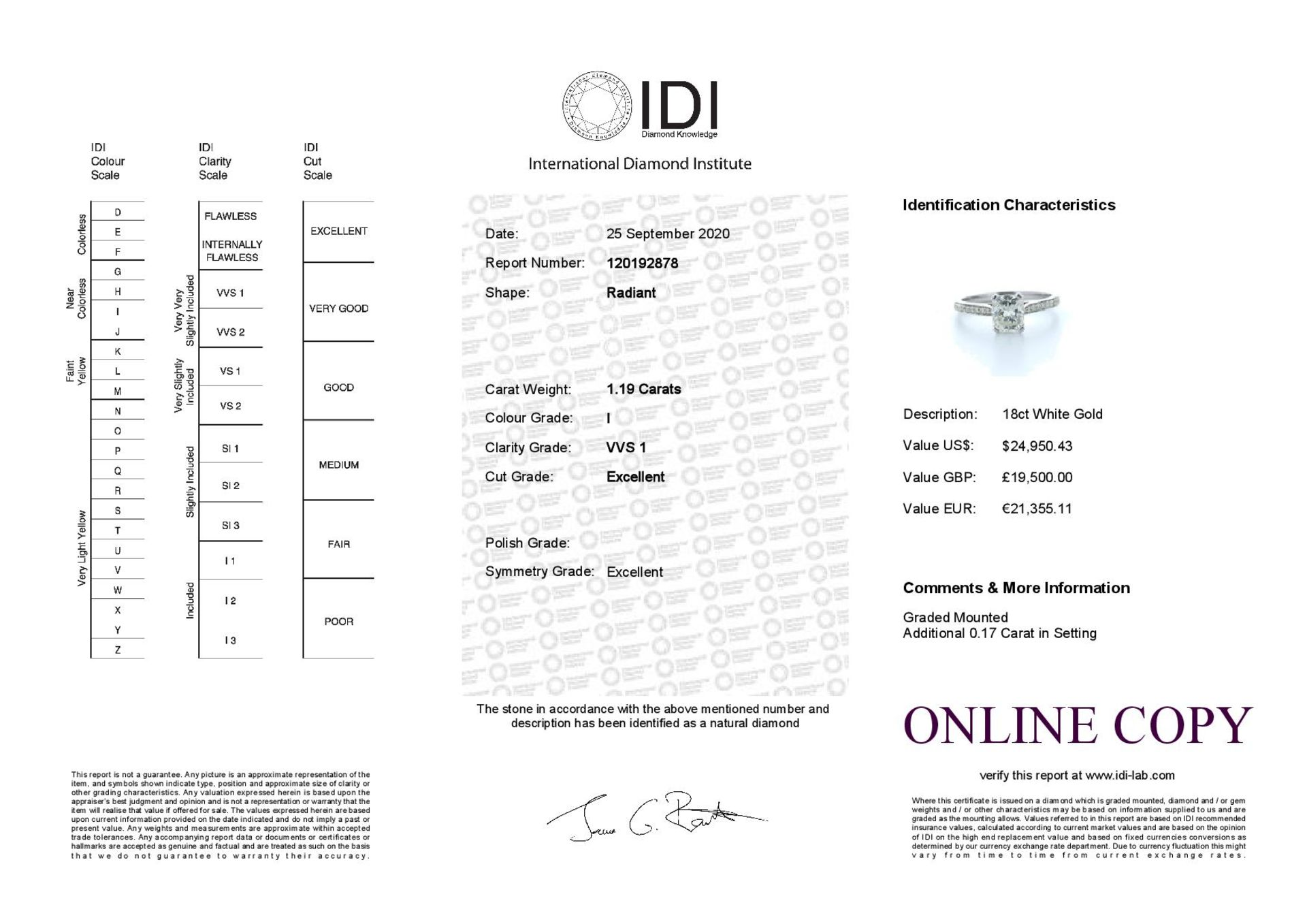 18ct White Gold Radiant Cut Diamond Ring 1.23 (1.08) Carats - Valued by IDI £19,500.00 - 18ct - Image 5 of 5
