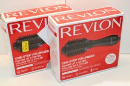 2X BOXED REVLON ONE-STEP VOLUMISER POWER OF A DRYER, VOLUME OF A STYLER COMBINED RRP £105.