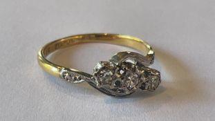 9ct Yellow Gold Three Stone Diamond Ring