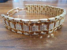 Cartier- 18ct Yellow Gold- Cartier Tank Americaine Diamond Set Bracelet- Set With Approx- 7.92ct