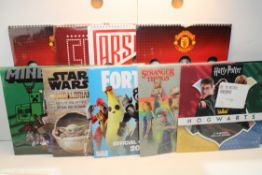 11X ASSORTED CALENDARS TO INCLUDE FORTNITE STAR WARS, ELVIS & OTHER Condition ReportAppraisal