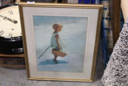 FRAMED WALL ART GIRLONTHE BEACH BY DAVID DAVINI Condition Report Appraisal Available on Request- All