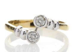 18ct Two Stone Rub Over Set Diamond Ring 0.20 Carats - Valued by GIE £6,250.00 - 18ct Two Stone