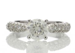 18ct White Gold Single Stone Claw Set With Stone Set Shoulders Diamond Ring (1.08) 1.58 Carats -