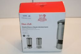 BOXED PEUGEOT DUO ZELI ELECTRIC SALT & PEPPER MILL SET Condition ReportAppraisal Available on