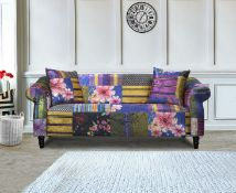 BAGGED FABRIC PATCHWORK 3 SEATER ANNA SHOUT SOFA - PATCHWORK MAY VARY RRP £619 Condition