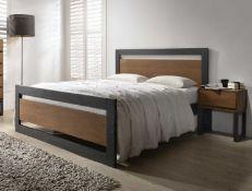BOXED OLIVIA DOUBLE BED WALNUT/CHARCOAL (WILL NEED PALLET DELIVERY OR COLLECTION ONLY)\Condition
