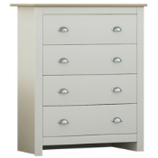 BOXED WESTBURY 4 DRAWER CHEST CREAM ON OAK RRP £95Condition ReportAppraisal Available on Request-