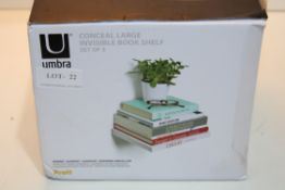 BOXED UMBRA CONCEAL LARGE INVISIBLE BOOK SHELF SET OF 3 Condition ReportAppraisal Available on