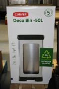 BOXED CURVER DECO BIN 50LCondition ReportAppraisal Available on Request- All Items are Unchecked/